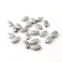 40 Tibetan Silver 10x6mm Love Message Beads